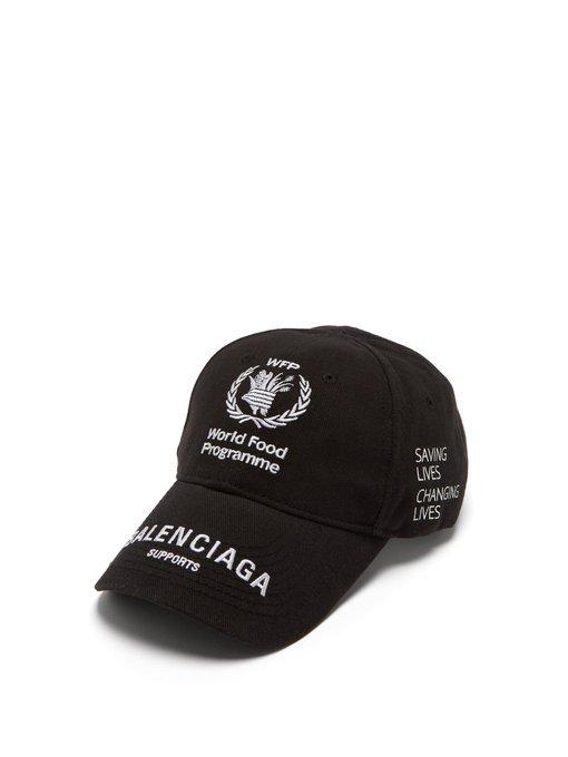 112e41378d2690 Balenciaga - World Food Programme Logo Baseball Cap - Womens - Black ...