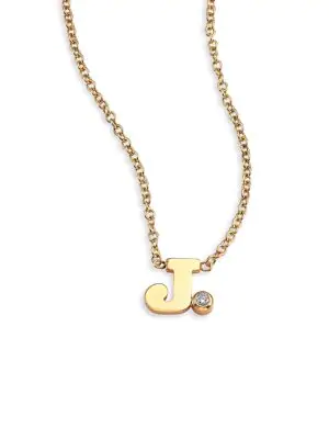ZoË Chicco Diamond & 14K Yellow Gold Initial Pendant Necklace In Initial J