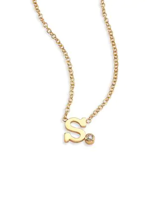 ZoË Chicco Diamond & 14K Yellow Gold Initial Pendant Necklace In Initial S