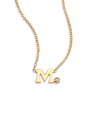 ZoË Chicco Diamond & 14K Yellow Gold Initial Pendant Necklace In Initial M