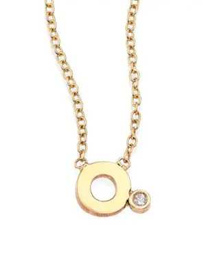 ZoË Chicco Diamond & 14K Yellow Gold Initial Pendant Necklace In Initial O