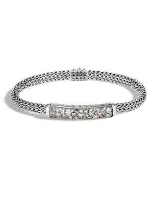 John Hardy Classic Chain Sterling Silver & Diamond Bracelet