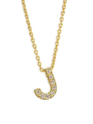 Roberto Coin Tiny Treasures Diamond & 18K Yellow Gold Initial Necklace In Initial J