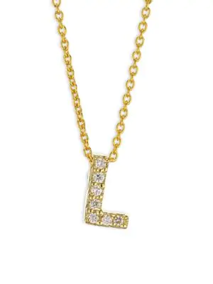 Roberto Coin Tiny Treasures Diamond & 18K Yellow Gold Initial Necklace In Initial L
