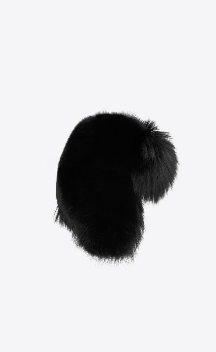 Saint Laurent Trapper Hat In Black Fox Fur