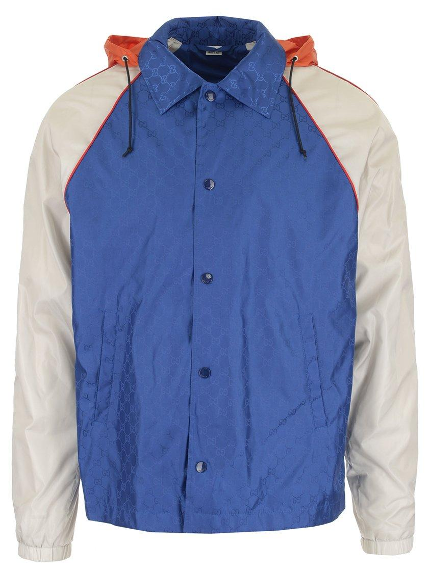 40a9af5cb23 Gucci Contrasted Windbreaker Jacket In Blue. CETTIRE