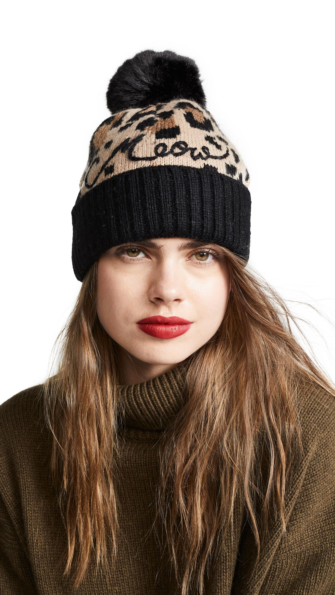 55a65a83ebfbad Kate Spade Leopard Beanie Hat In Roasted Peanut | ModeSens