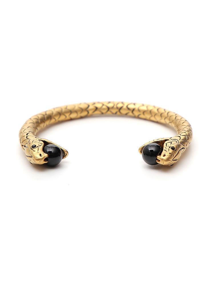 398d4bafa6b1 Saint Laurent Snake Kick Cuff Bracelet W  Beads In Gold