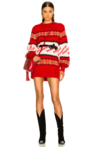 Msgm Crew Neck Sweater In Red Multi