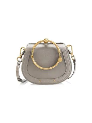 d5ad29fac976 ChloÉ Small Nile Leather   Suede Bracelet Bag In Motty Grey