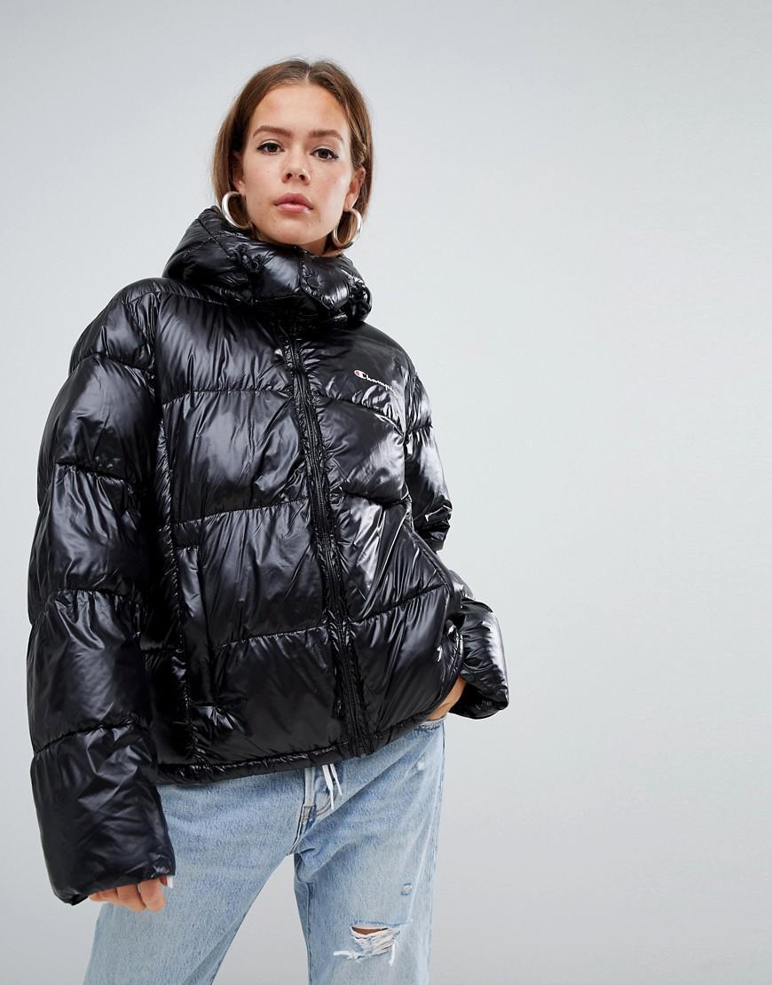 50% alennus ensimmäinen katsaus suurin alennus Oversized Padded Jacket With Embroidered Chest Logo - Black