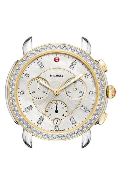 Michele Sidney Chrono Diamond Dial Watch Case, 38mm In Silver/ Mop/ Gold
