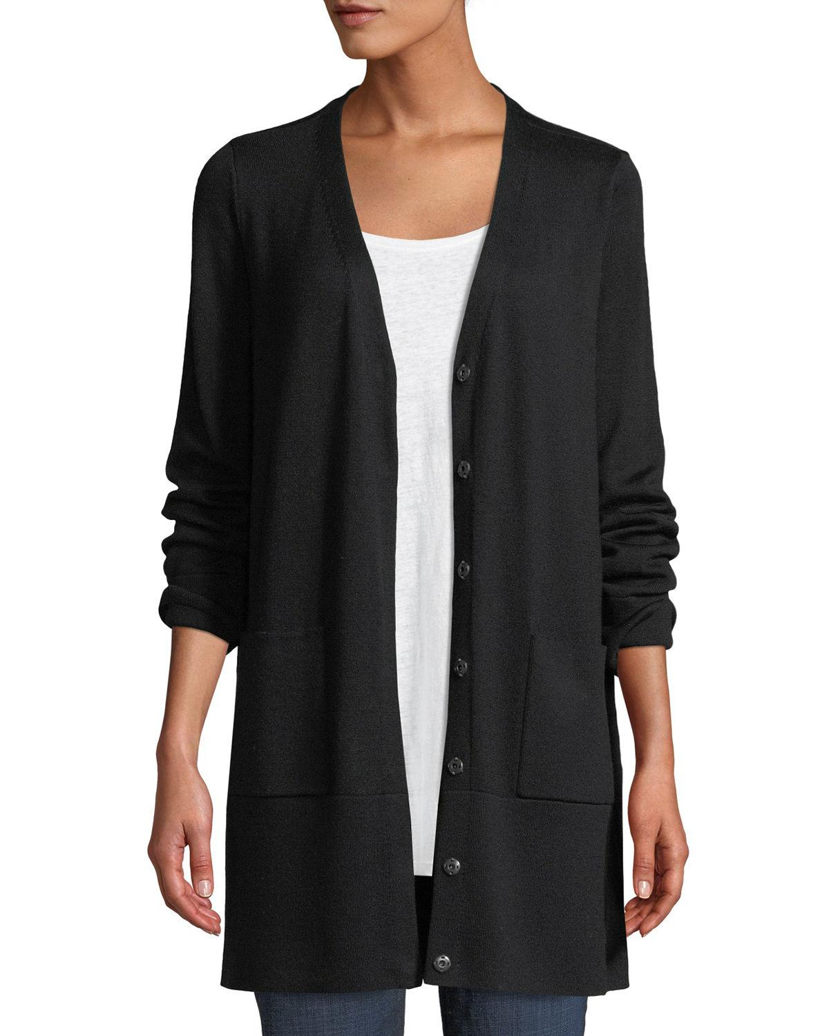 e44708f711de Eileen Fisher Fine Merino V-Neck Snap-Front Cardigan In Black | ModeSens