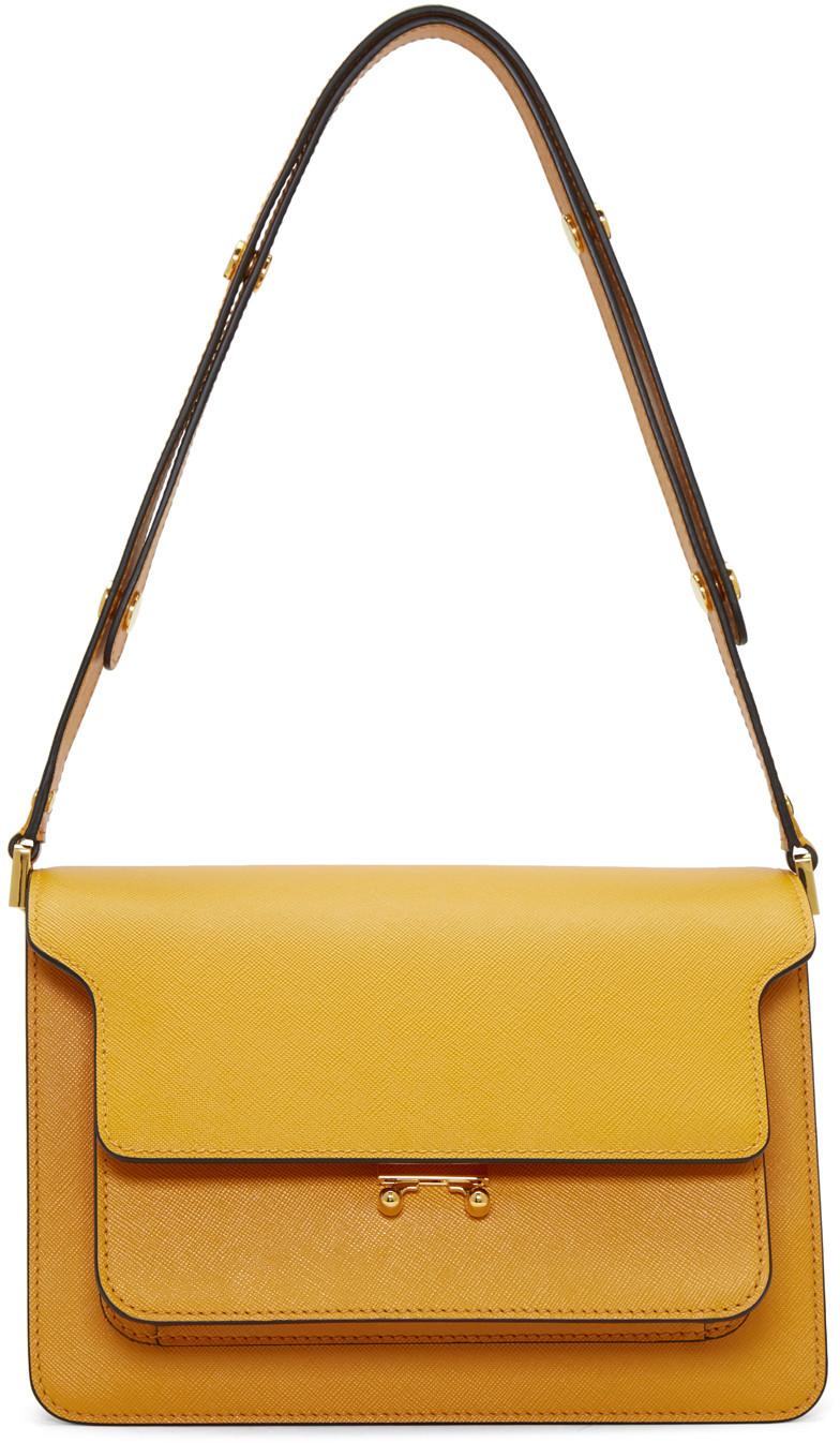 Marni Medium Trunk Saffiano Leather Bag, Orange