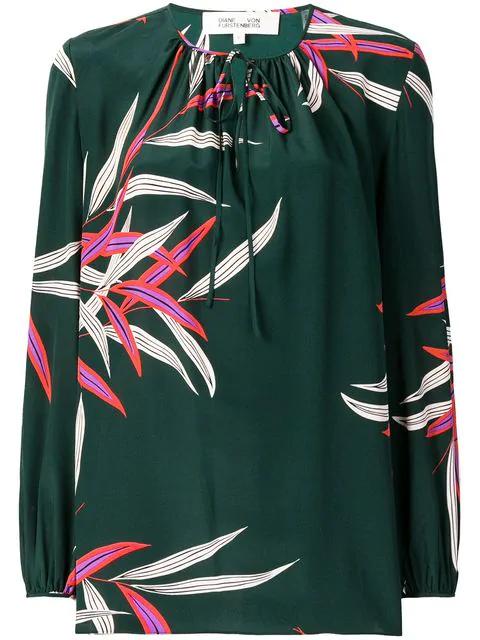 247ca5dd91dbe Diane Von Furstenberg Printed Silk Blouse - Green | ModeSens
