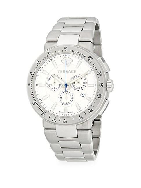 Versace Round Stainless Steel Bracelet Watch In Grey