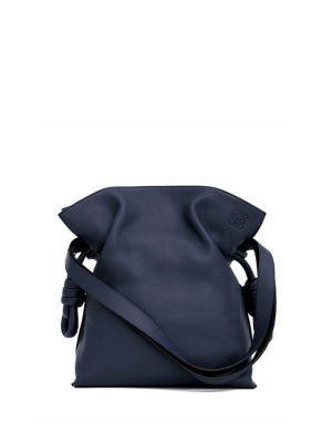 Loewe Flamenco Knot Leather Shoulder Bag In Marine