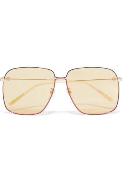 c088c81b33c Gucci Oversized Square-Frame Gold-Tone Sunglasses