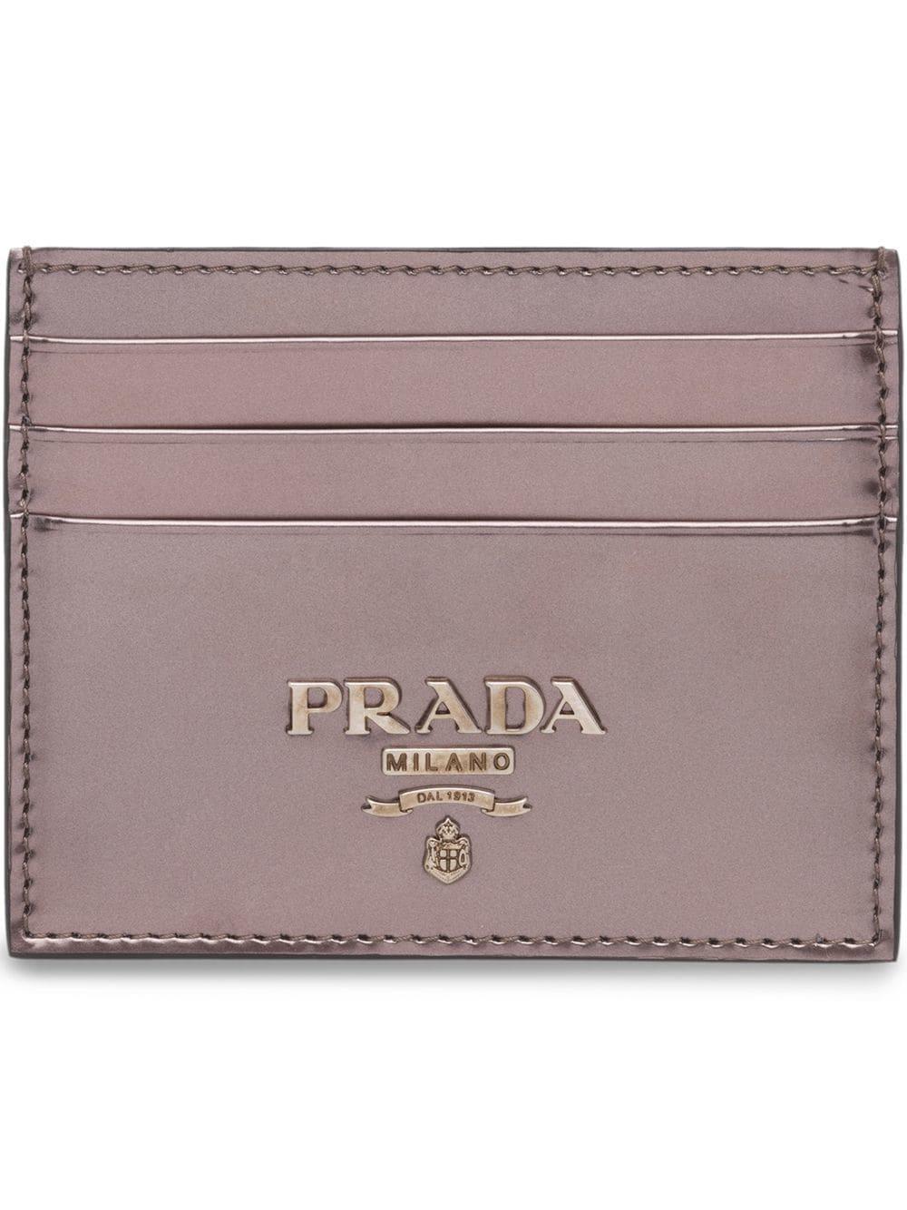 fc265f9d347ef6 Prada Leather Credit Card Holder - Grey | ModeSens
