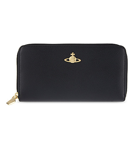 Vivienne Westwood Opio Saffiano Leather Zip-Around Purse In Nero