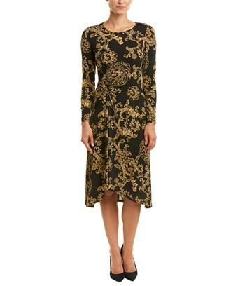 c062f886fe4 Donna Morgan Long-Sleeve Ruched Floral-Print Jersey Shift Dress In Black/ Gold