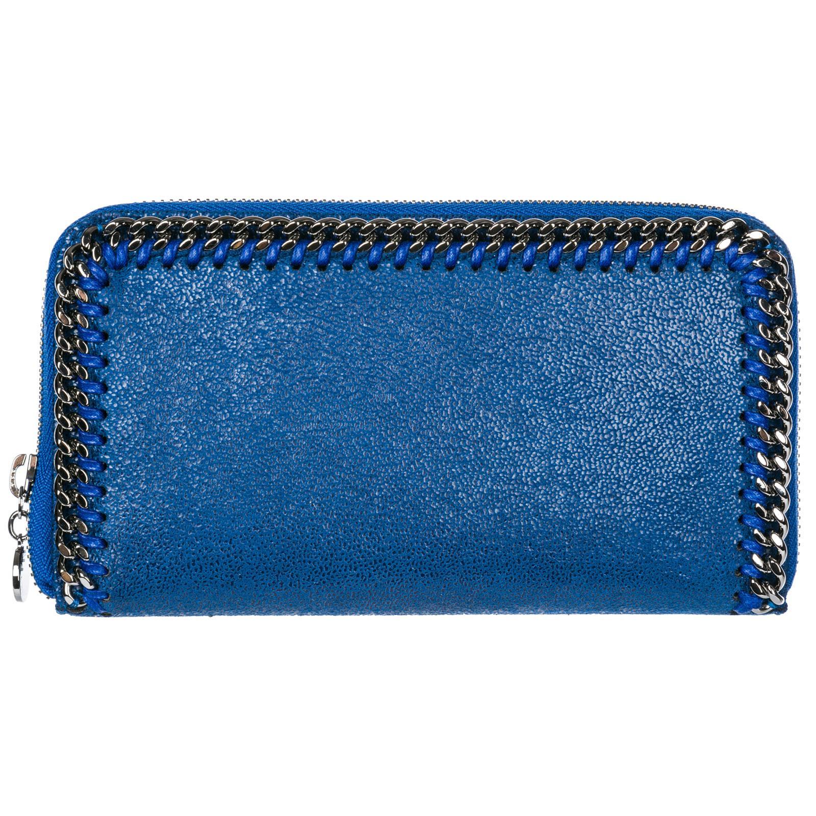 Stella Mccartney Women's Wallet Coin Case Holder Purse Card Bifold  Continental Falabella In Blue