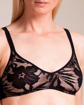 Hanro : Lace Illusion Soft Cup Bra In Black