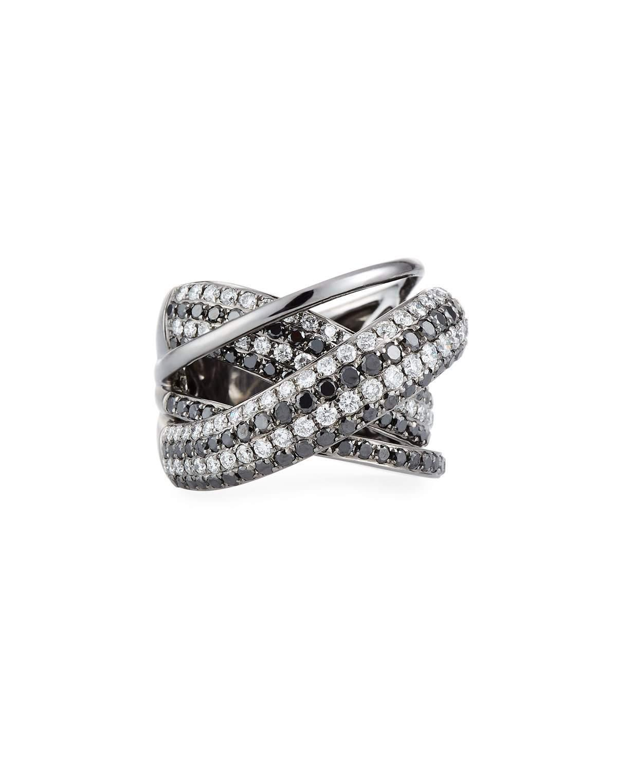 Diana M. Jewels 18K White Gold Two-Tone Diamond Crossover Ring