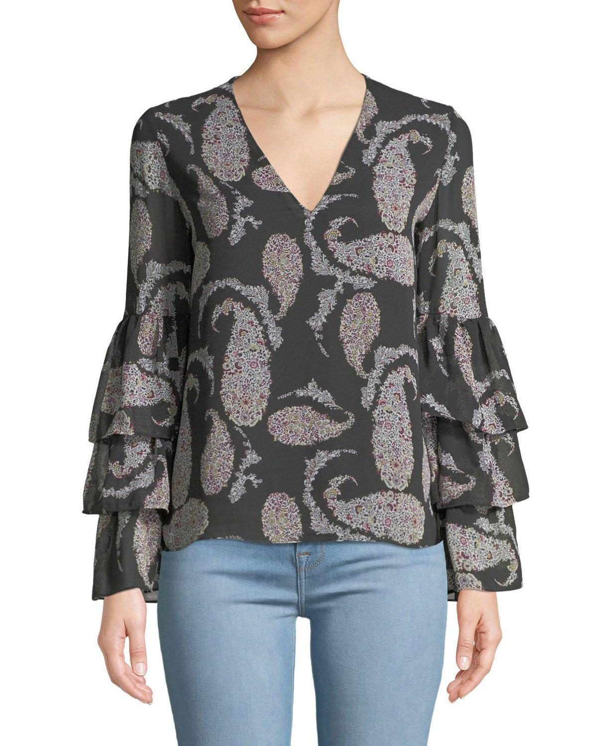 7a08a32951e33 Bailey44 Top Billing Floral Paisley-Print Bell-Sleeve Blouse In Gray ...
