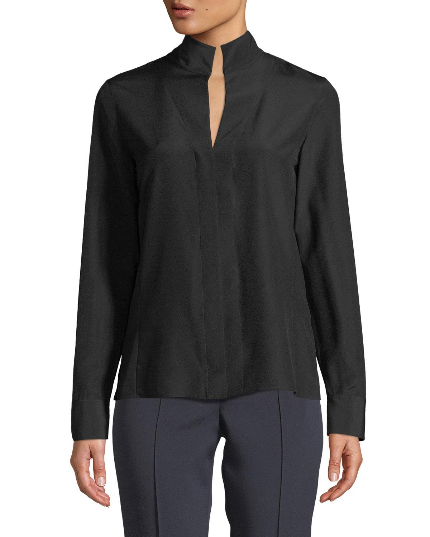Akris Split-Neck Silk Button-Front Blouse In Black