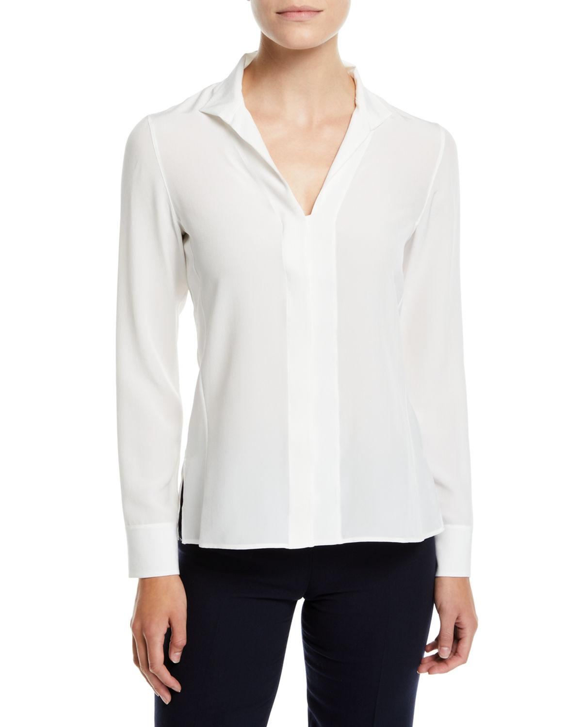 Akris Split-Neck Silk Button-Front Blouse In Ivory