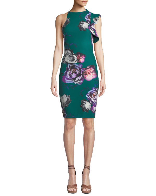 Black Halo Pabal Ruffle-Trim Floral-Print Dress In Forest