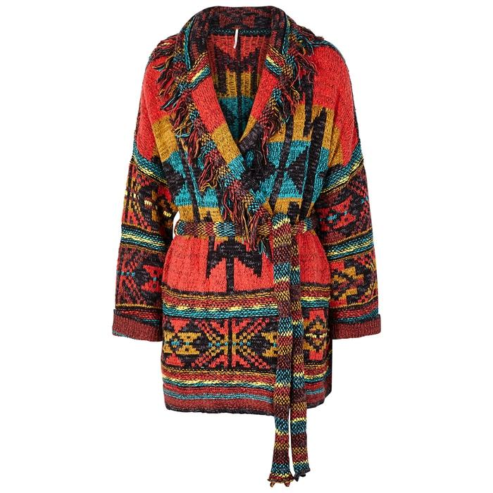 be4120219 Free People Wild Wild West Knitted Cardigan In Multicoloured