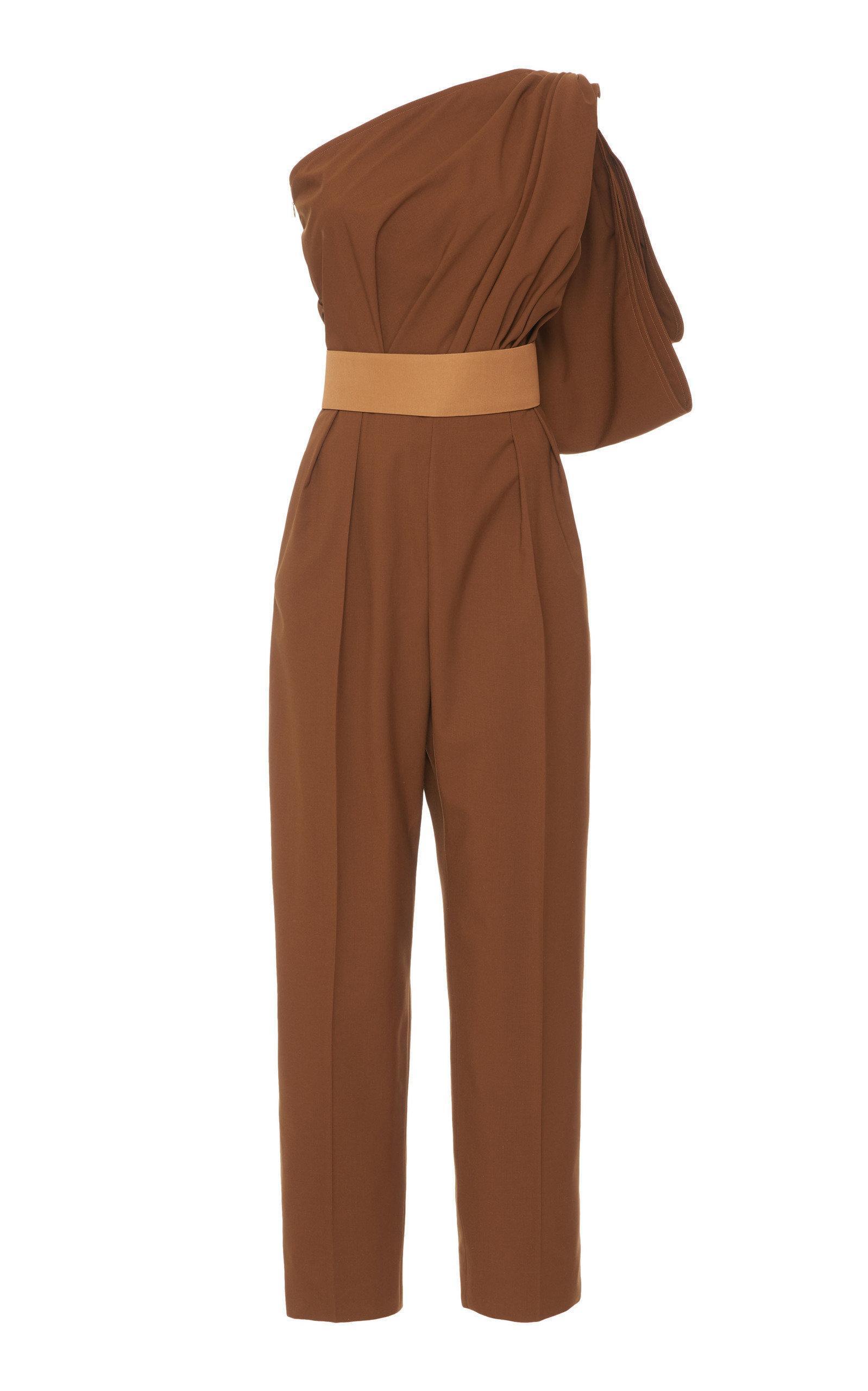 862b9227064 Max Mara Avola One-Shoulder Cotton-Poplin Jumpsuit In Brown