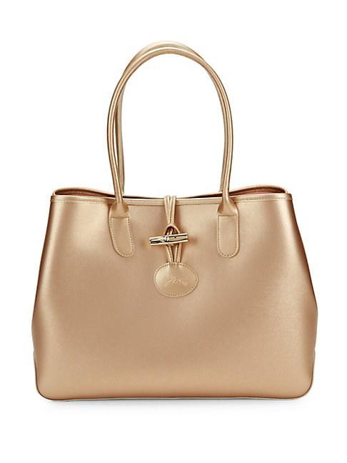 Roseau Metallic Leather Tote In Pink Gold