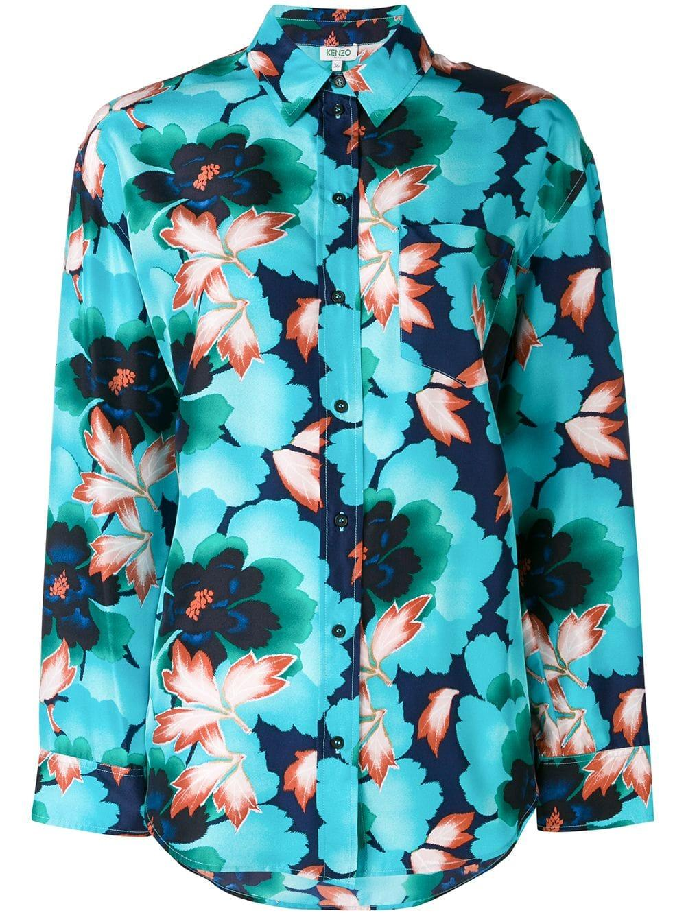 6d2c377c Kenzo Indonesian Flower Shirt - Blue | ModeSens