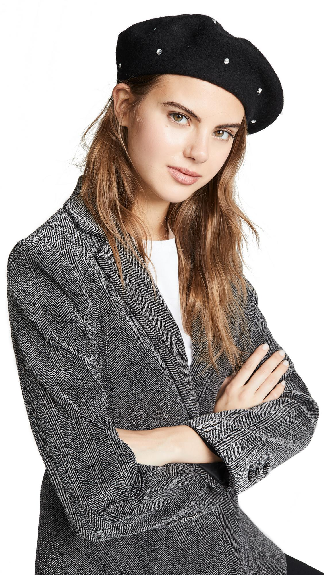 d9f49963fcb63c Kate Spade Bedazzled Beret Hat In Black/Smoke | ModeSens