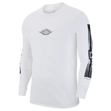 online store ecc66 1e6ca Nike Men s Jordan Sportswear Heritage Gfx2 Long-Sleeve T-Shirt, White
