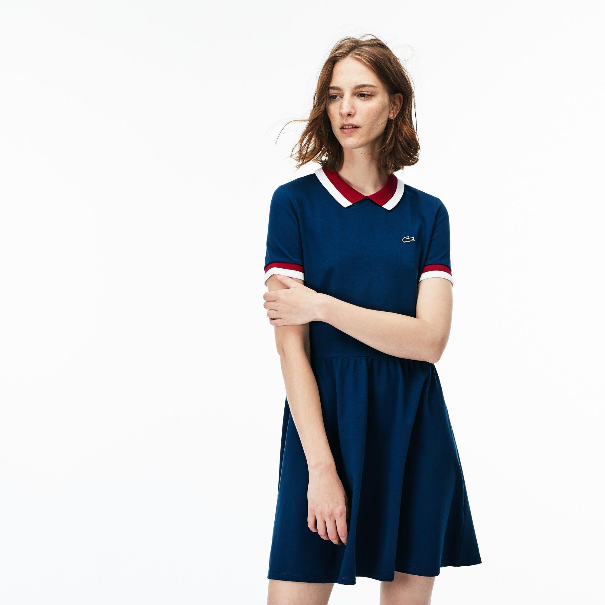0d5a0a765bb4 Lacoste Women s Contrast Finishes Flared Stretch Mini PiquÉ Polo Dress In  Blue   Red   White