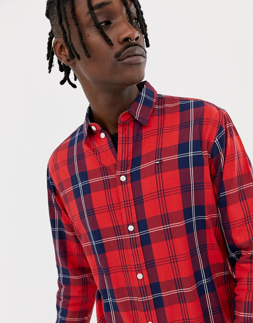 8ea87ad9f Tommy Jeans Essential Big Check Shirt Flag Logo In Red - Red | ModeSens