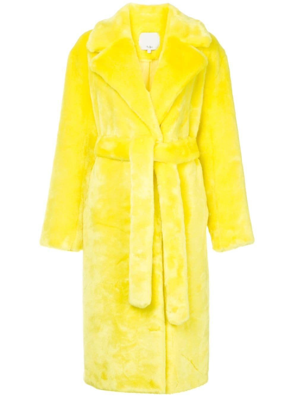 26ef9504e159 Tibi Luxe Faux Fur Oversized Coat - Yellow   Orange
