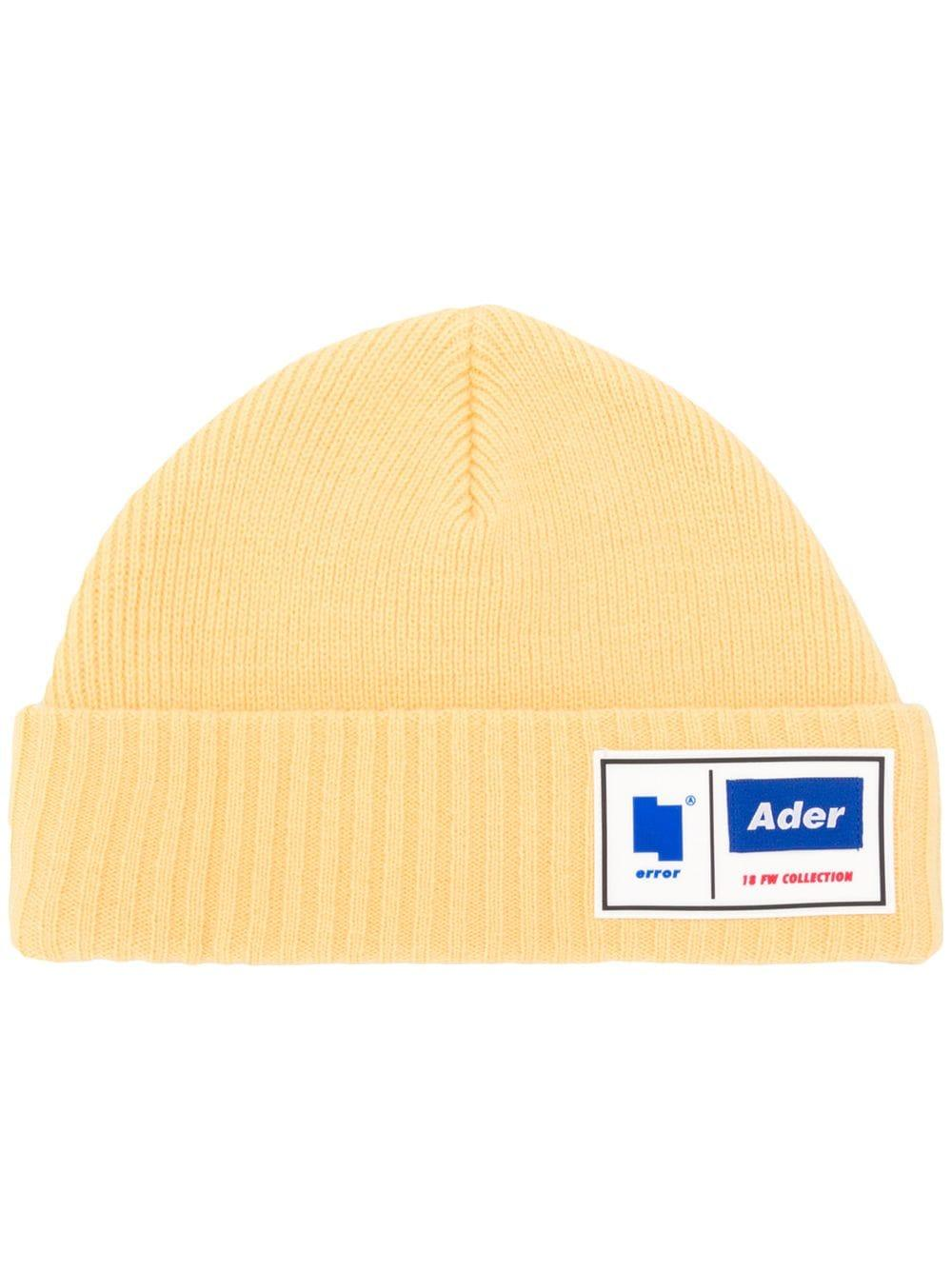50fc0a58d79 Ader Error Ribbed Knit Logo Beanie - Yellow. Farfetch