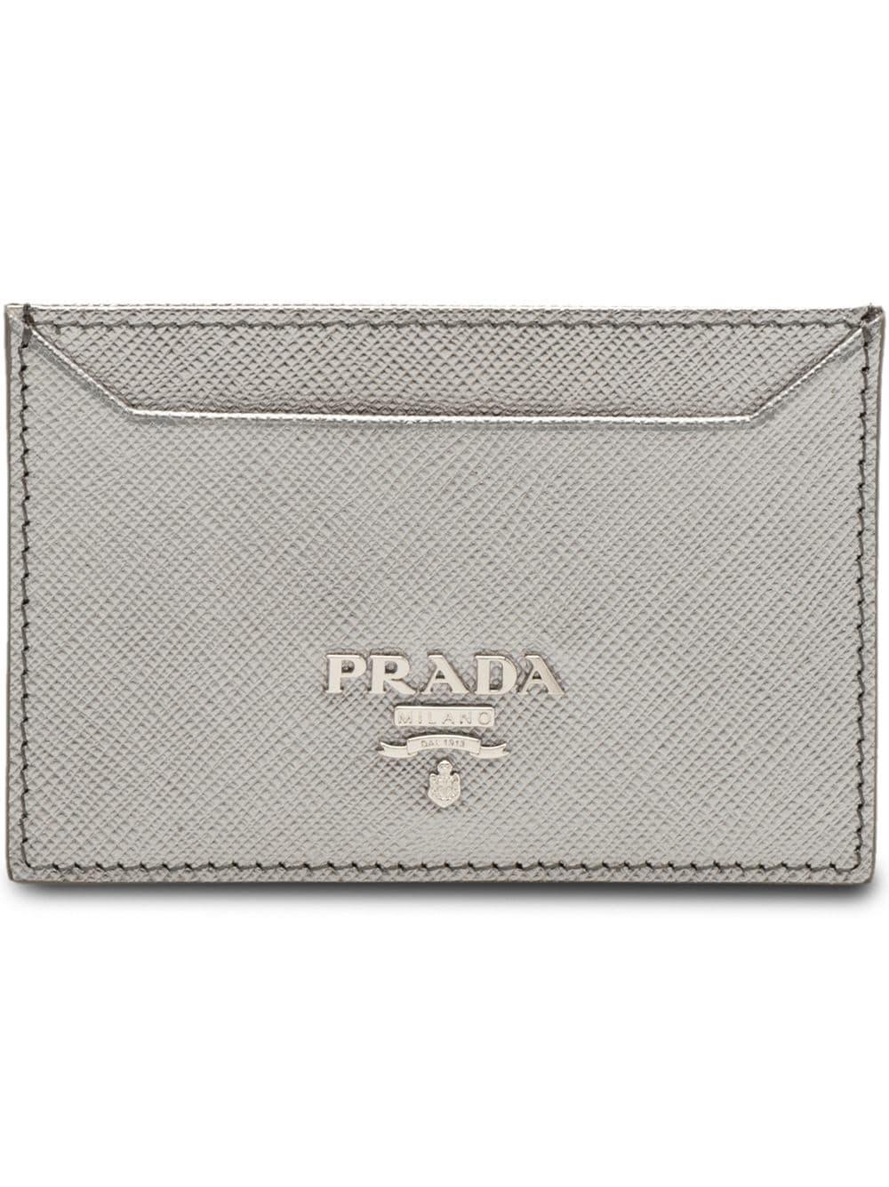 74203fccfcb8 Prada Logo Plaque Card Holder In Metallic   ModeSens