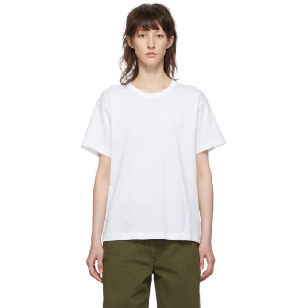 Acne Studios White Cotton T-shirt With Embroidered Logo In Optic White