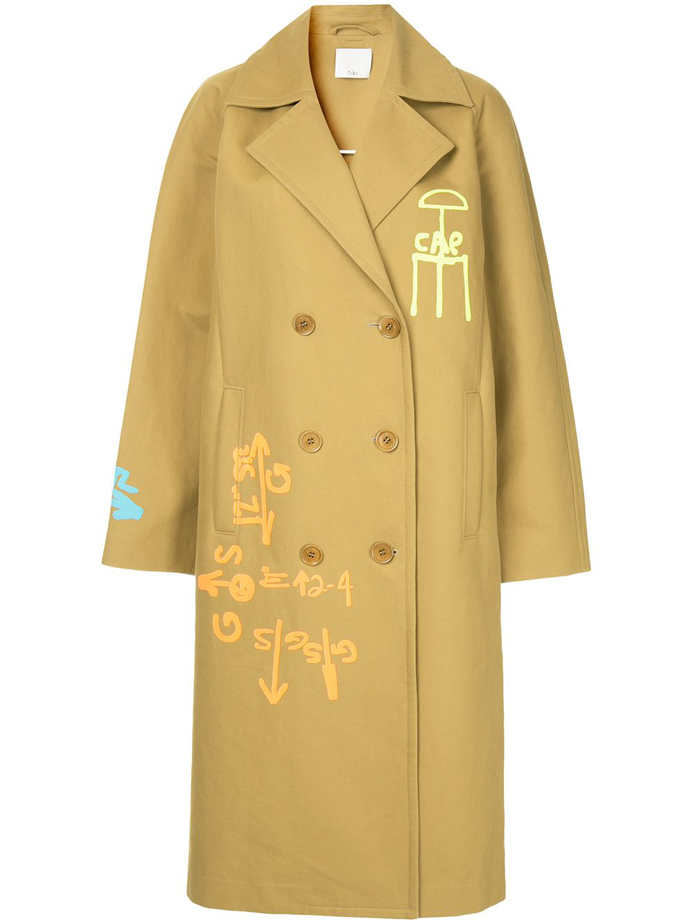 Tibi Screen Printed Trench Coat In Brown