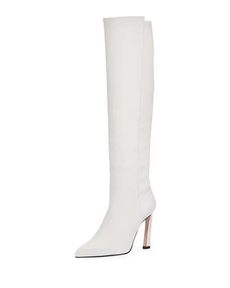 24d162147ee6 Stuart Weitzman Demi 100Mm Leather Knee Boots In Oyster