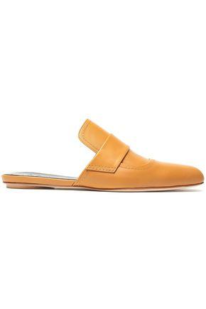 Marni Leather Slippers In Camel