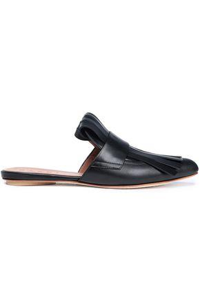 Marni Fringed Leather Slippers In Black