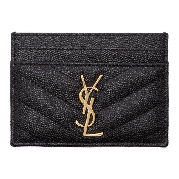 Saint Laurent Monogram Card Case In Grain De Poudre Embossed Leather In Black