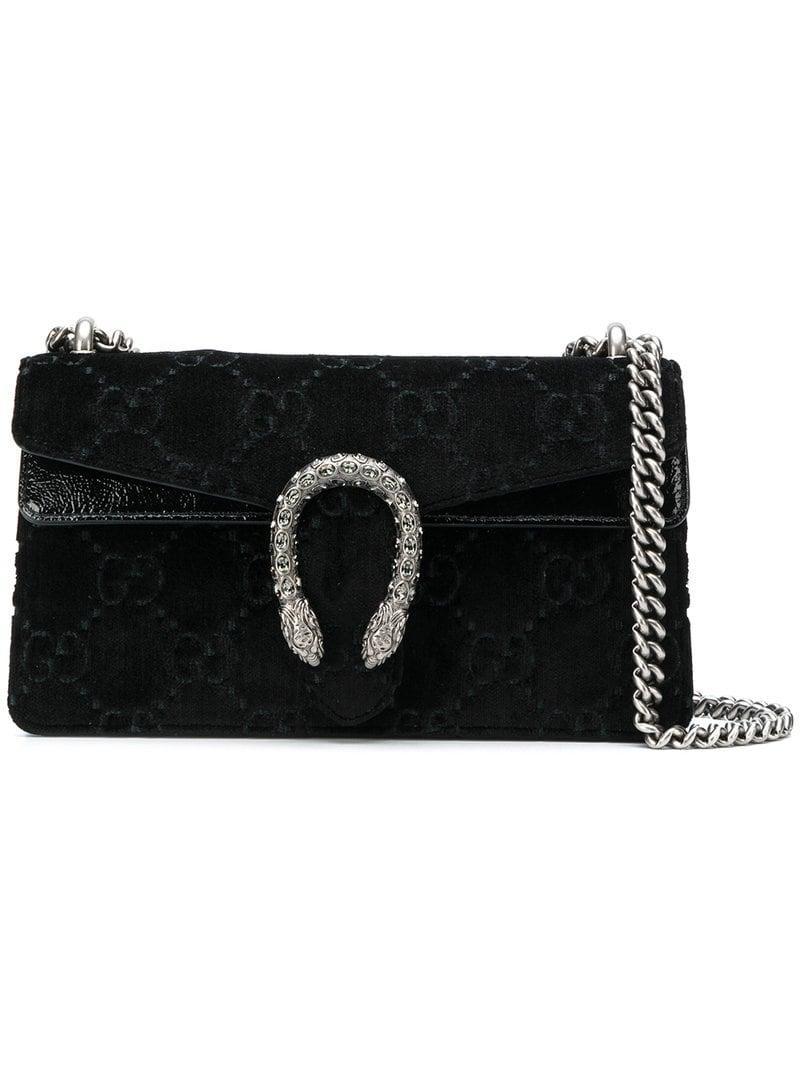 d7db8bd18ee2c9 Gucci Dionysus Gg Velvet Small Shoulder Bag - Farfetch In Black ...